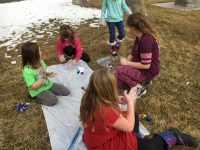 Brownie Troop 203 (Elko Nv) service project was decorated onesies for the first born baby girl of Girl Scout* week. Several of the girls chose tie dye and a couple choose to use fabric markers.