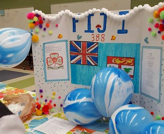 Girl Scout display board for Fiji for World Thinking Day.
