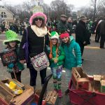 Juniors selling cookies during their St. Patricks day parade.