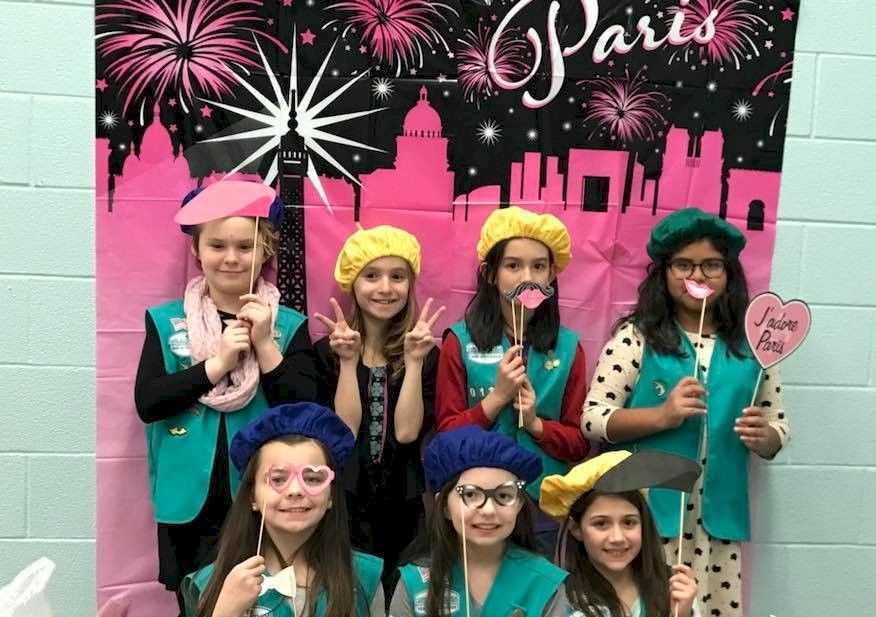 Cadette Girl Scouts representing France for Thinking Day,