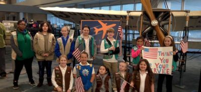 Long Island Honor Flight attended by Girl Scouts
