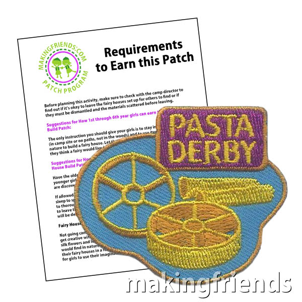 Make STEM fun for your girls with a Pasta Derby! Uncooked pasta and hot glue are all the supplies they need to make cars they can really race downhill. They won't even know they are learning about engineering because they'll be having so much fun. #makingfriends #pastaderby #derby #girlscouts #boyscouts #badges #patchprogram #patches #girlscoutpatches #boyscoutpatches via @gsleader411