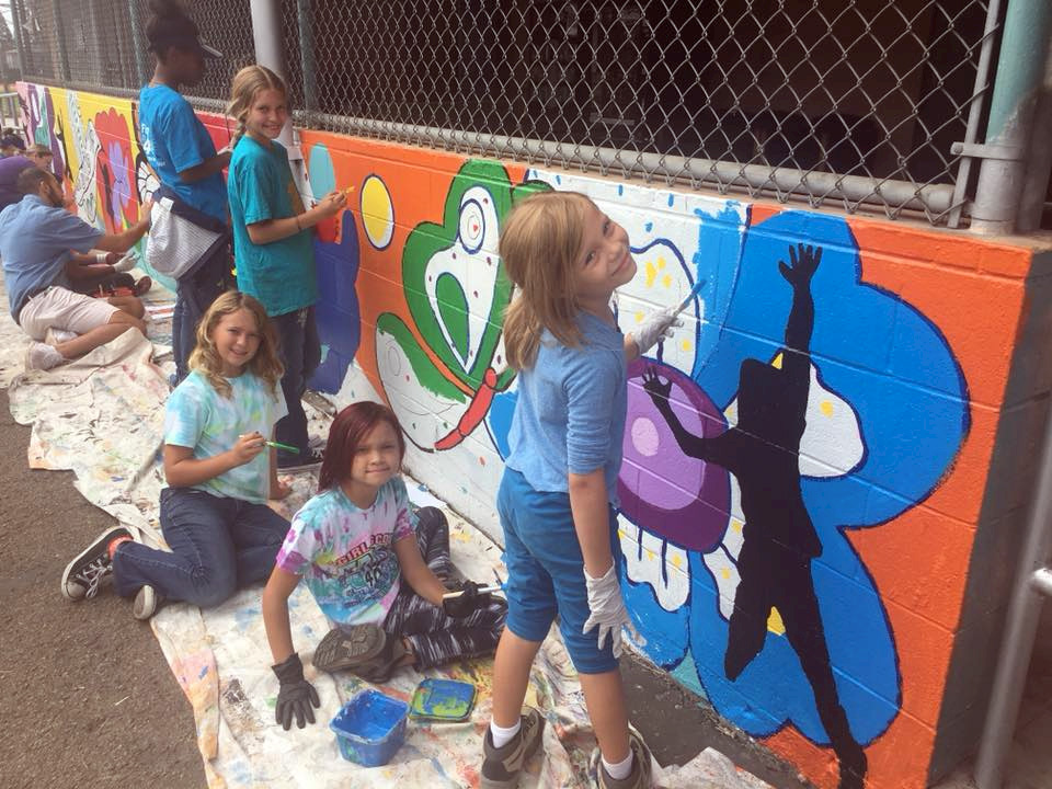 Girl Scouts Painting a Mural