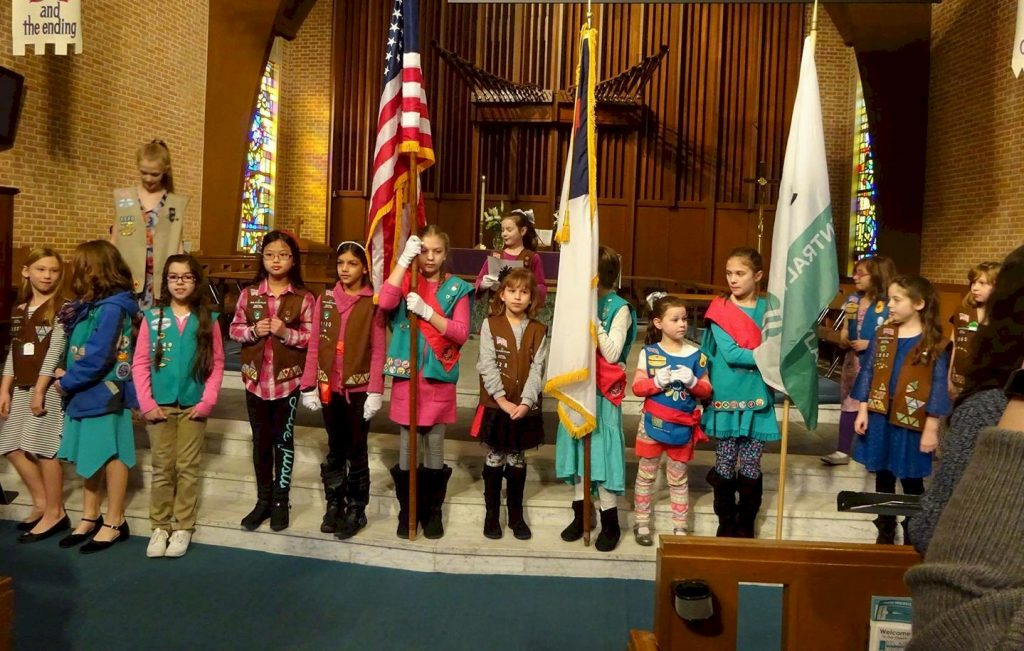 Girl Scouts celebrate Girl Scout Sunday.