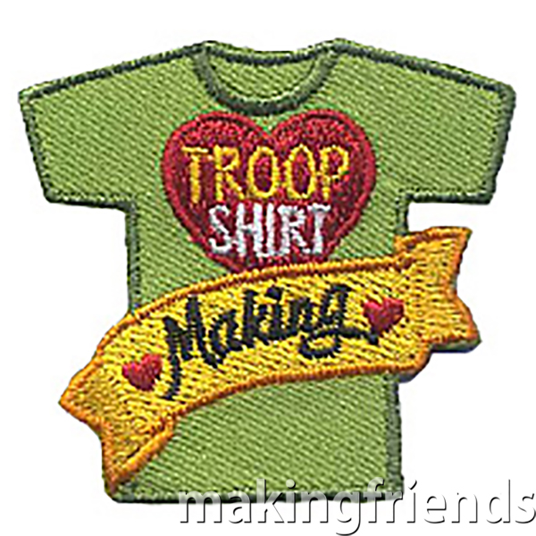 Troop shirts are a fun way to show troop pride when a uniform isn't appropriate like when camping. $.69 each free shipping available #makingfriends #troopshirts #badges #girlscouts #shirtmaking #shirts #customshirts #girlscoutbadges via @gsleader411