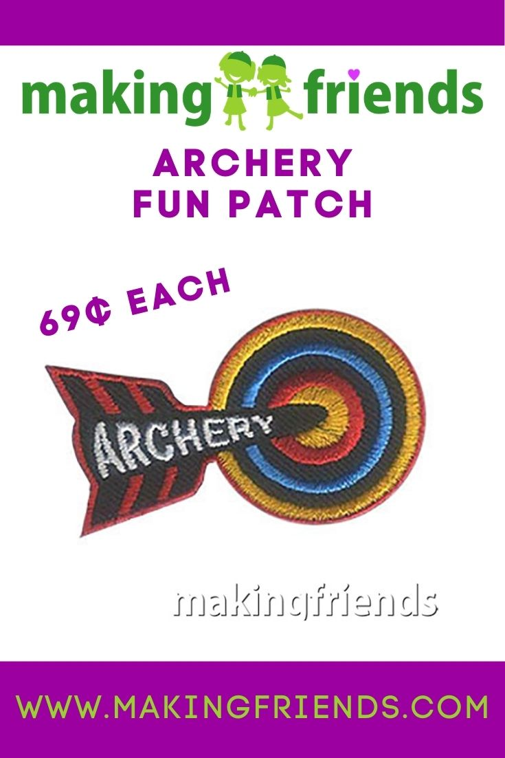 Archery is a favorite activity for Scouts! Give your girls our archery fun patch! Only $.69 each, free shipping available #makingfriends #archery #girlscoutarchery #archeryfunpatch #girlscouts #funpatch #archeryrange #bowandarrows #outdoorfun #gsfunpatch via @gsleader411