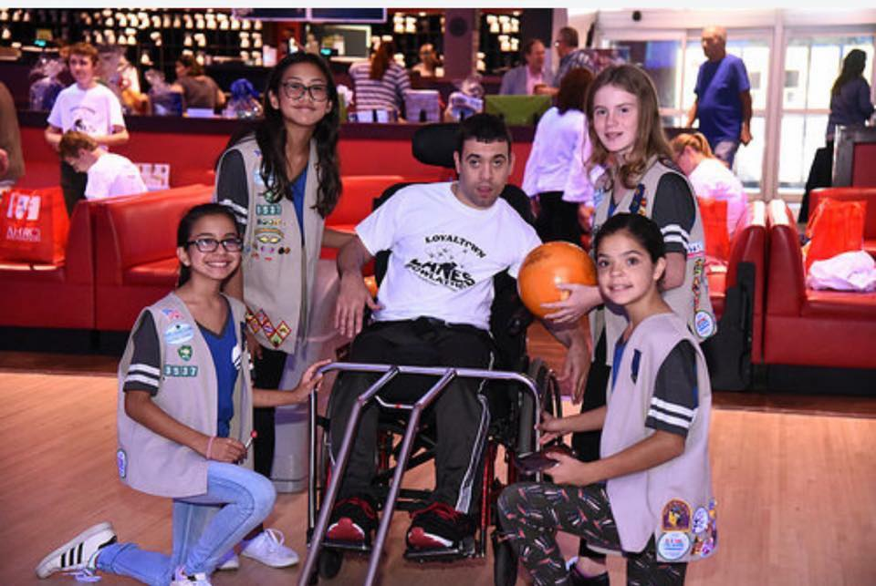 Cadette Girl Scouts Assisting at a Bowl-a-Thone