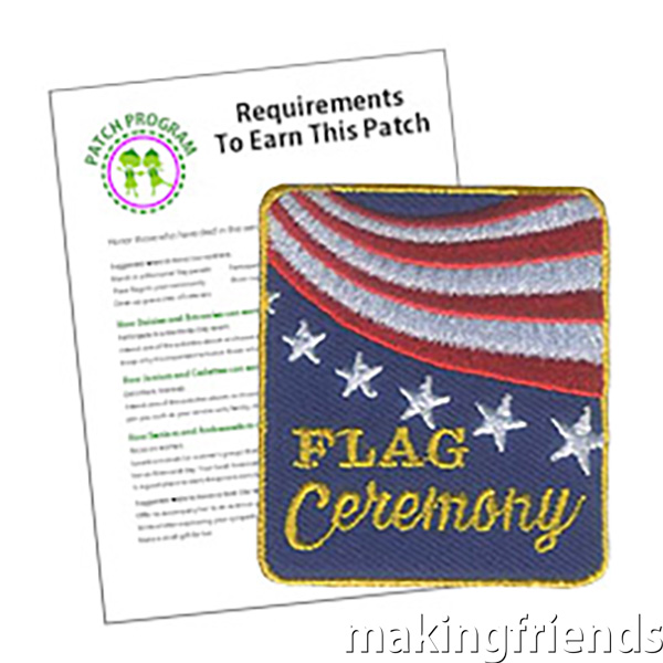 "The ""Flag Ceremony"" Service Patch can be a great acknowledgement that your group respects the American Flag. Especially appropriate for Flag Day activities or patriotic holiday events. #flags #usa #flagceremony #patchprogram #servicepatch #americanflag via @gsleader411"