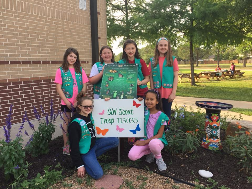 Girl Scouts rehabiliting a butterfly garden.