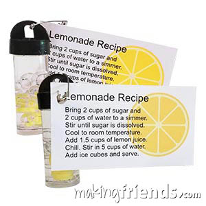Lemonade Friendship Swap Kit. This is a great swap to exchange on a hot summer day! Kit makes 30 and is available at MakingFriends®.com. via @gsleader411