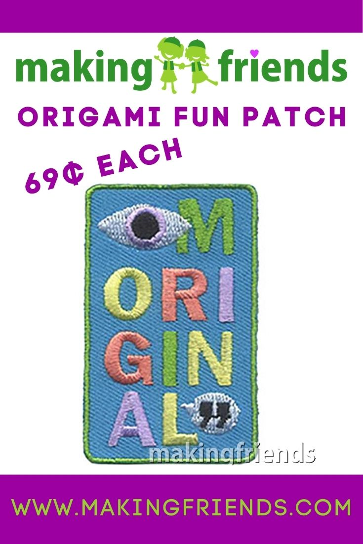 Give your girls this awesome origami fun patch and see if they can figure out what it is! #makingfriends #origami #paperfolding #art #creating #girlscouts #funpatch #gsfunpatch via @gsleader411