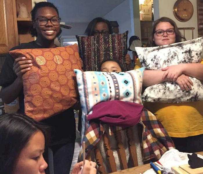 Senior Girl Scouts Making Pillows