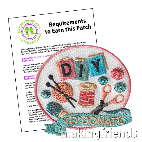 DIY To Donate means that you create and craft items to donate to people that need them. From dog beds, to unicorn capes; there is something everyone can make and donate. #diytodonate #makingfriends #diytodonatepatch #girlscoutpatches #patches #badges #gsbadges #donate #giveback via @gsleader411