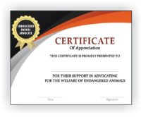 Endangered Animal Advocate Certificate