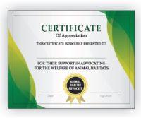 Animal Habitat Advocate Certificate