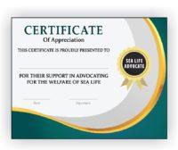 Sea Life Advocate Certificate