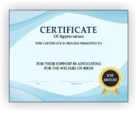 Bird Advocate Certificate