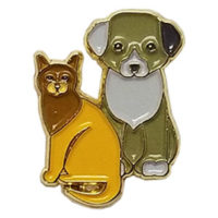 Cat and Dog Enamel Pin