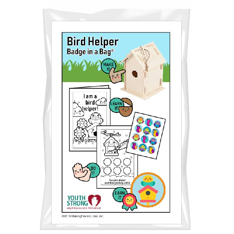 This Bird Helper Badge in a Bag® is part of the Youth Squad Animal Welfare Patch Program® and will teach your kids about taking care of birds. The Helping Hands level is specifically created for 3 and 4 year old girls and boys or anyone with the abilities of a preschooler. Perfect for tag alongs at your troop meeting. Youth Squad partnered with MakingFriends®.com to bring you this animal welfare community service patch program®. via @gsleader411