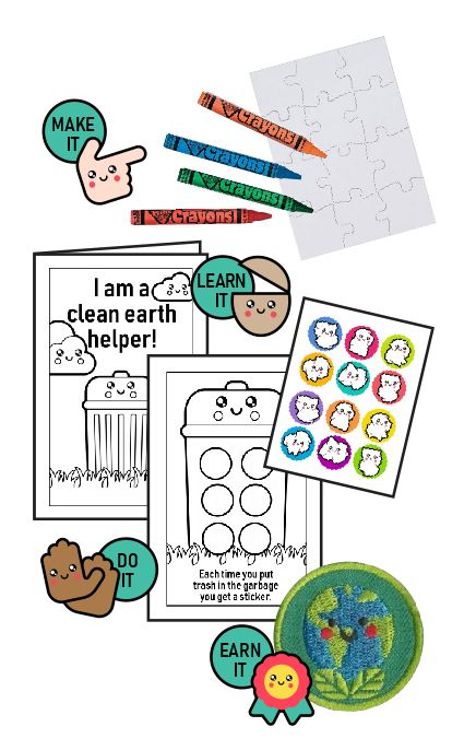 This Clean Earth Helper Badge in a Bag® is part of the Youth Squad Environmental Patch Program® and will teach your kids that helping to keep the earth clean is important. The Helping Hands level is specifically created for 3 and 4 year old girls and boys or anyone with the abilities of a preschooler. Perfect for tag alongs at your troop meeting. Youth Squad partnered with MakingFriends®.com to bring you this environmental community service patch program®. via @gsleader411