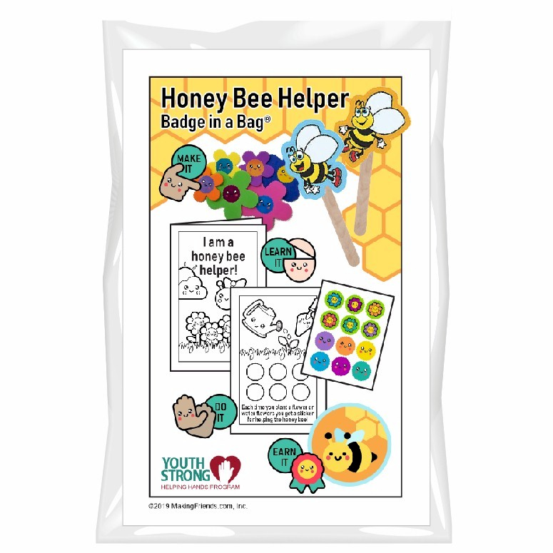 This Honey Bee Helper Badge in a Bag® is part of the Youth Squad Animal Welfare Patch Program® and will teach your kids about responsibility. The Helping Hands level is specifically created for 3 and 4 year old girls and boys or anyone with the abilities of a preschooler. Perfect for tag alongs at your troop meeting. Youth Squad partnered with MakingFriends®.com to bring you this environmental community service patch program®. via @gsleader411