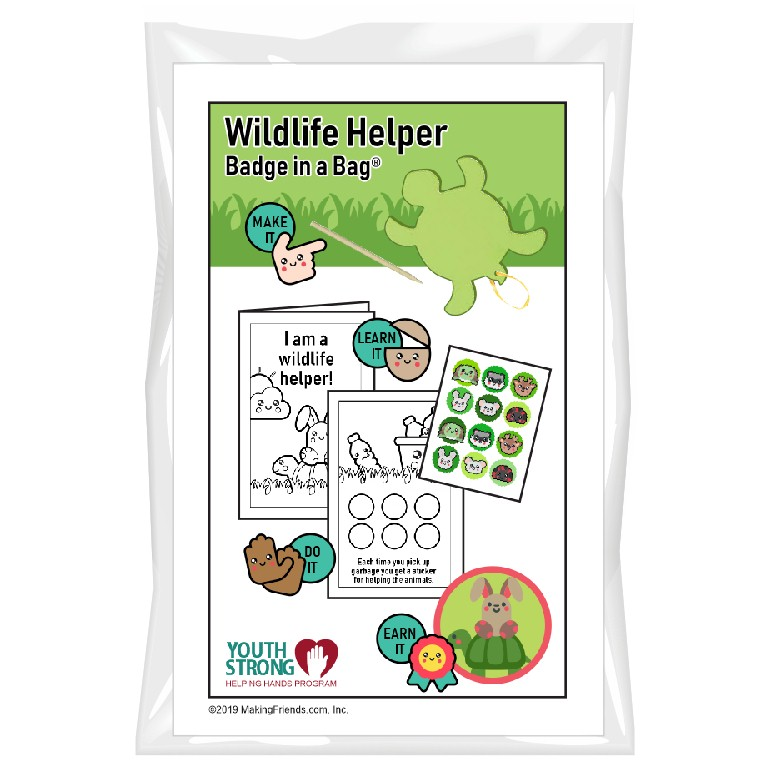 This Wildlife Helper Badge in a Bag® is part of the Youth Squad Animal Welfare Patch Program® and will teach your kids about respecting wildlife. The Helping Hands level is specifically created for 3 and 4 year old girls and boys or anyone with the abilities of a preschooler. Perfect for tag alongs at your troop meeting. Youth Squad partnered with MakingFriends®.com to bring you this animal welfare community service patch program®. via @gsleader411
