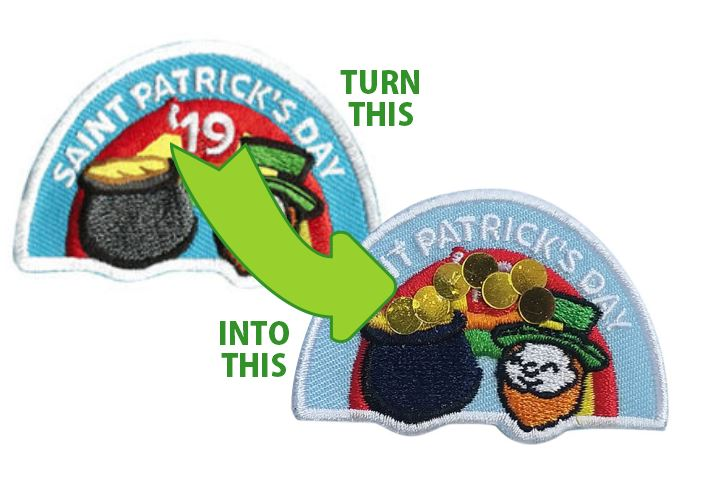 St. Patrick's Day 2019 Patch - CLEARANCE. Upcycle our Iron On 2″ Embroidered Patches. Break out your craft kit and add gems, foam, puff paint… anything to bling your patches and use them for next year. Limited supply at this price won't last. Available at MakingFriends®.com while supplies last. via @gsleader411