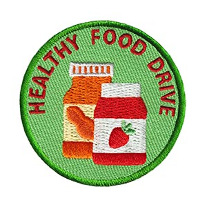"""The Healthy Food Drive Service Patch is from the Youth Squad Outreach Patch Program®. MakingFriends®.com partnered with Youth Squad  to bring you a rewarding community service program with step-by-step instructions for every age level to make a meaningful impact in their community. This is one of our """"Friend"""" level patches which is geared toward younger achievers and usually include supply drives, clean ups or other actions that assist volunteers or organizations with a specific project.  via @gsleader411"""