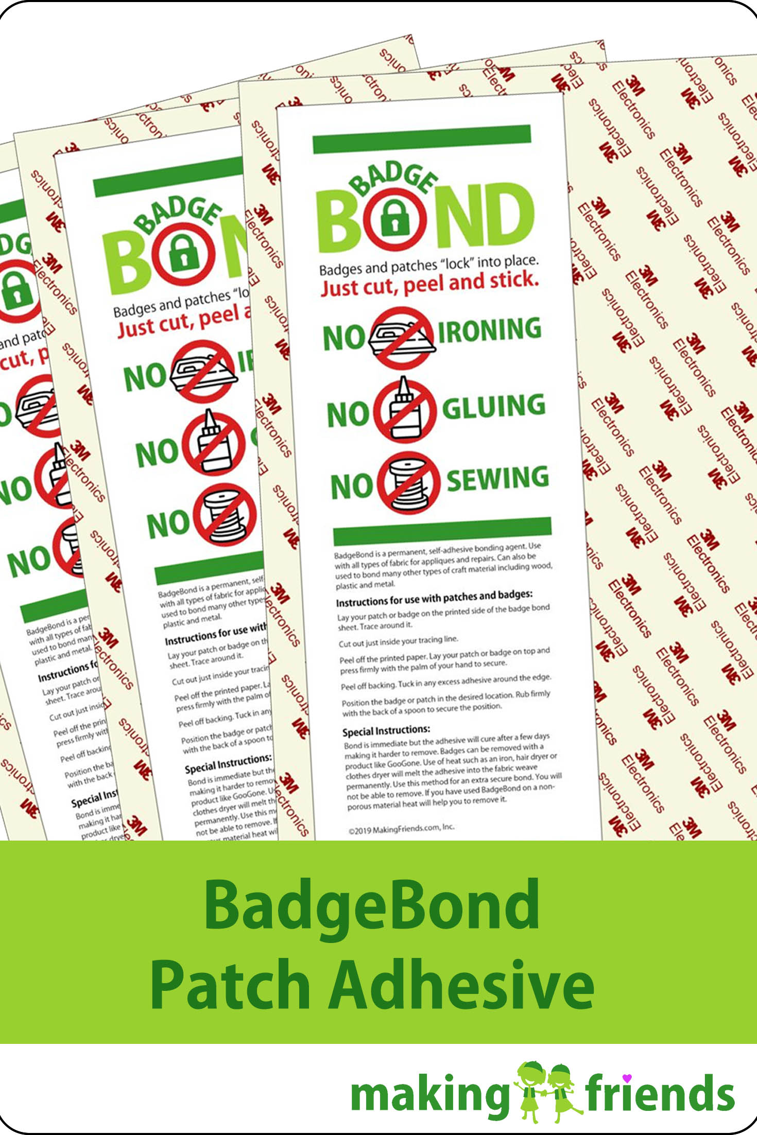 BadgeBond Patch Adhesive Same great outcome as the competition at a much lower price and free shipping. We guarantee it! Get a free full sized sheet free with your order of $100 or more. via @gsleader411
