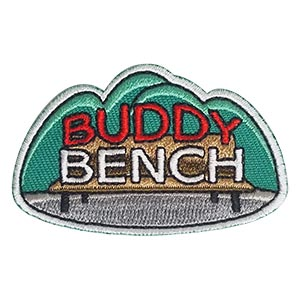 Buddy Bench Patch. Buddy benches are all about making new friends so it's no wonder that it's such a popular scout community service project. The idea is that someone who has no one to hang out with can sit down and someone will come and play with them. Co-ordinate with your school administrators to create a buddy bench for your school play ground. This patch from MakingFriends®.com shows your scouts created this great project to help kids make new friends. via @gsleader411