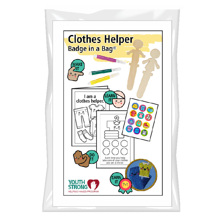 This Clothes Helper Badge in a Bag® is part of the Youth Squad Outreach Patch Program® and will teach your kids that about taking care of clothes. The Helping Hands level is specifically created for 3 and 4 year old girls and boys or anyone with the abilities of a preschooler. Perfect for tag alongs at your troop meeting. Youth Squad partnered with MakingFriends®.com to bring you this environmental community service patch program®. Patch included. via @gsleader411