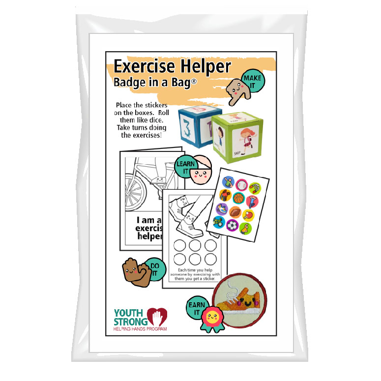 This Exercise Helper Badge in a Bag® is part of the Youth Squad Outreach Patch Program® and will teach your kids that about staying fit. The Helping Hands level is specifically created for 3 and 4 year old girls and boys or anyone with the abilities of a preschooler. Perfect for tag alongs at your troop meeting. Youth Squad partnered with MakingFriends®.com to bring you this environmental community service patch program®. Patch included. via @gsleader411