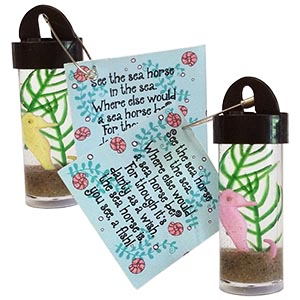Seahorse Aquarium Friendship Swap Kit. Make tiny little seahorse aquariums to swap. A real crowd pleaser! Kit makes 24 and is available at MakingFriends®.com. via @gsleader411