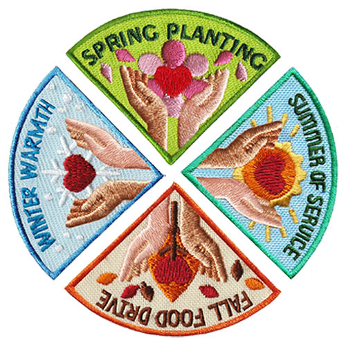 Seasons of Service Patch Group. Every season is a time to give back. Plan four community service projects for your troop — one for each season and this set of four is a beautiful tribute for the work done. Each patch also available individually. Learn more at MakingFriends®.com. via @gsleader411