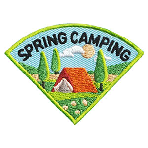 Spring Camping Patch - Wedge. This Spring Camping patch is one of four in our Camping Seasons patch group. Order just this one or plan a camping trip for each season of the year! Available at MakingFriends®.com. via @gsleader411