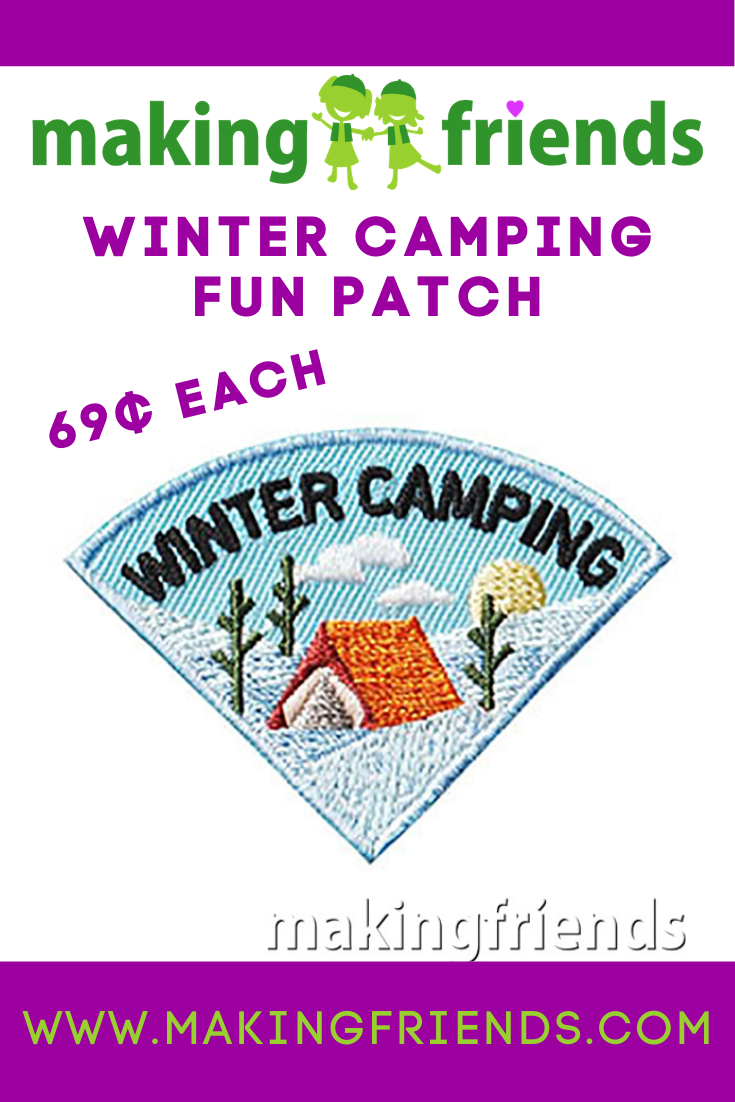 Winter Camping Patch - Wedge. This Winter Camping patch is one of four in our Camping Seasons patch group. Order just this one or plan a camping trip for each season of the year! $.69 each free shipping available! #makingfriends #wintercamping #winter #camping #girlscoutscamp via @gsleader411