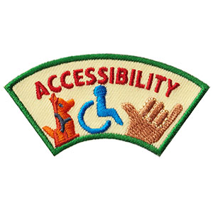 """The Accessibility Advocate Service Patch is from the Youth Squad Community Patch Program®. MakingFriends®.com partnered with Youth Squad to bring you a rewarding community service program with step-by-step instructions for every age level to make a meaningful impact in their community. This is one of our """"Advocate"""" level patches which are geared toward teens. Become a Community Advocate by earning all 5 community advocate level patches. via @gsleader411"""