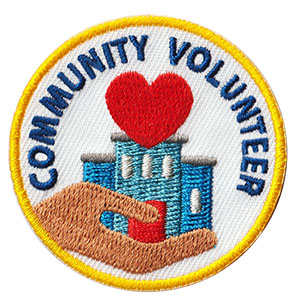 "The Community Volunteer Service Patch is from the Youth Squad Community Patch Program®. MakingFriends®.com partnered with Youth Squad to bring you a rewarding community service program with step-by-step instructions for every age level to make a meaningful impact in their community. This is one of our ""Volunteer"" level patches. Children as young as eight years old can self-lead by following along with the requirements. via @gsleader411"