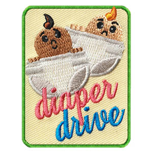 Diaper Drive Patch. This adorable Diaper Drive Patch from MakingFriends®.com will not only reminds scouts of the important service they provided in their community, but can also inspire others to host much needed community service drives as well! via @gsleader411