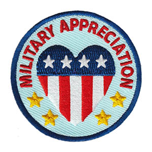 "The Military Appreciation Service Patch is from the Youth Squad Community Patch Program®. MakingFriends®.com partnered with Youth Squad to bring you a rewarding community service program with step-by-step instructions for every age level to make a meaningful impact in their community. This is one of our ""Friend"" level patches which is geared toward younger achievers and usually include supply drives, clean ups or other actions that assist volunteers or organizations with a specific project.  via @gsleader411"