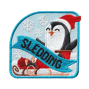 Sledding Patch. Get outside with your troop and enjoy some sledding fun! Bring along some hot chocolate and have a fun snow day with your scouts. Remember the fun with the bright and cheery Sledding patch from MakingFriends®.com. via @gsleader411