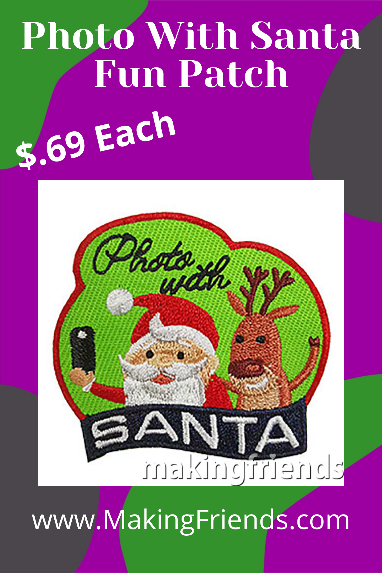 Photo with Santa Patch from MakingFriends®.com. Commemorate a fun scout trip to see Santa with this cute Photo with Santa Patch from MakingFriends®.com. via @gsleader411