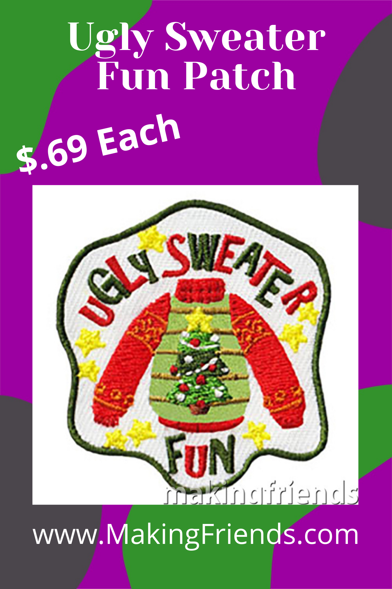 Ugly sweater parties are a great theme for a troop holiday party. Encourage your scouts to create their own ugly sweaters with bows, garland, tinsel, ornaments or any fun holiday decorations. The Ugly Sweater patch from MakingFriends®.com will be a fun reminder of a silly celebration and make everyone smile. via @gsleader411