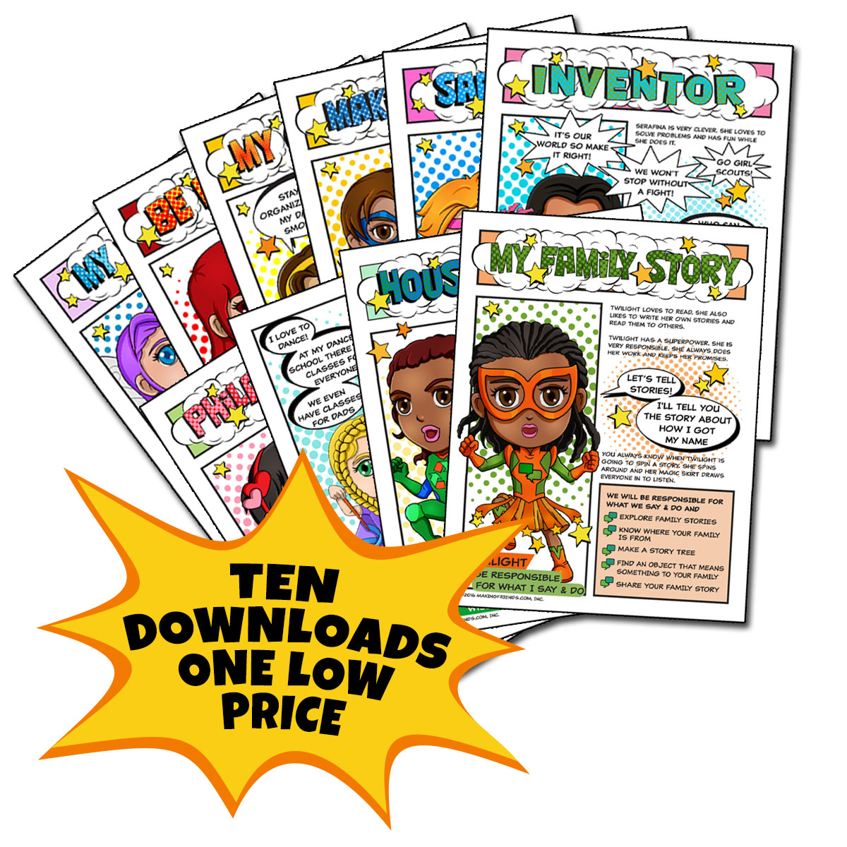 10 Beginner Superhero Downloads. The Superhero program was developed by MakingFriends®.com to be fun for girls and save time for leaders. Ten five-page comic downloads to complete Brownie badges and Daisy petals. Many troops have cancelled meetings due to school closure. Keep your girls involved in the program with downloads for earning badges. via @gsleader411