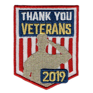 "Thank You Veterans 2019 Patch from MakingFriends®.com. The ""Thank You Veterans 2019"" service patch is not just for Veteran's Day. Any day is a good day to honor our Veterans. via @gsleader411"