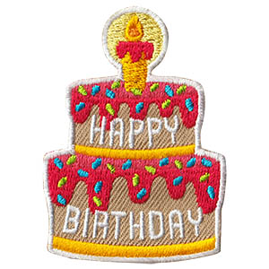 Happy Birthday Patch -- Cake from MakingFriends®.com. Wish your scouts a happy birthday with this festive Happy Birthday Patch from MakingFriends®.com. via @gsleader411