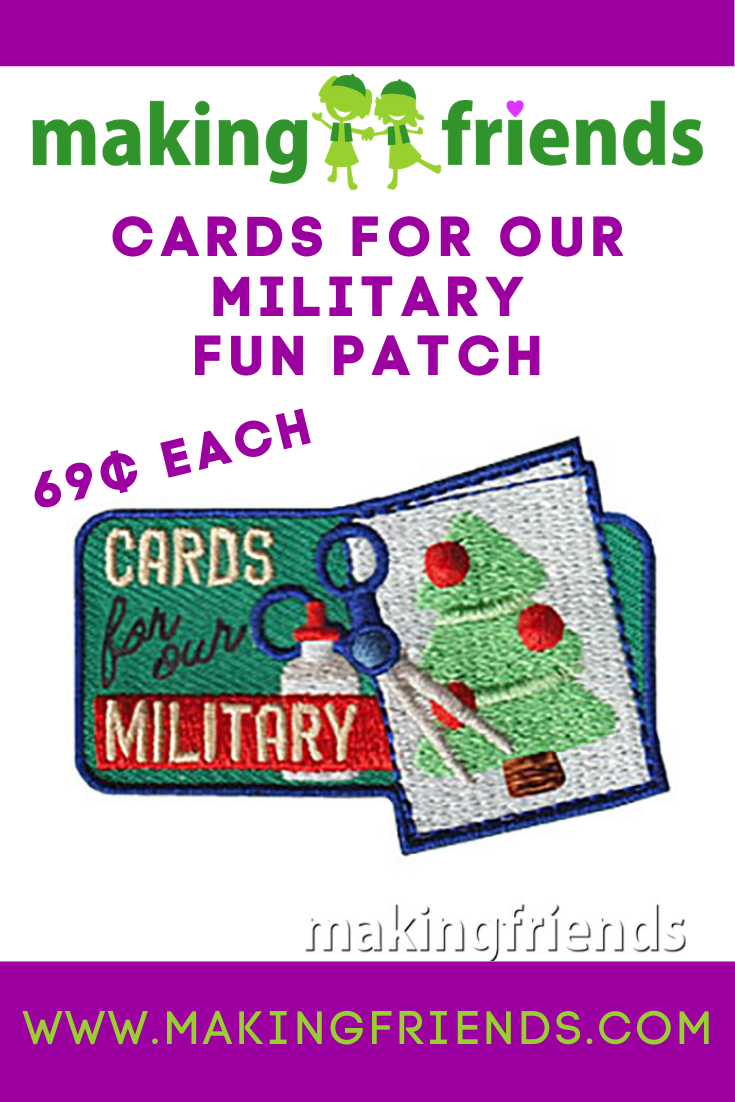 Making cards for the military is a great holiday community service activity for scouts of all ages! $.69 each, free shipping available! #makingfriends #military #cardsforthemilitary #christmascards #communityservice #gsfunpatch #girlscouts #boyscouts #cardmaking via @gsleader411