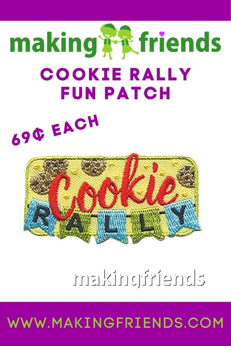 Add to the excitement of your cookie rally with this bright and fun Cookie Rally patch from MakingFriends®.com! #makingfriends #cookierally #gscookies #cookieseason #girlscouts #girlscoutcookies #gscookierally #funpatch #gspatch #girlscoutfunpatch via @gsleader411