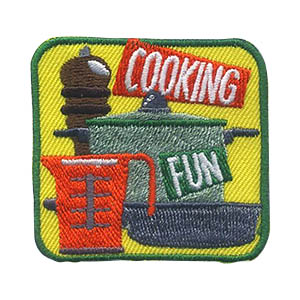 Cooking Patch -- Square. Scouts love to eat so they will be enthusiastic about cooking. They can prepare a meal for a fun night for themselves or as a thank you for those that provide support to the troop. The Cooking patch from MakingFriends®.com will be a hit on any uniform. via @gsleader411