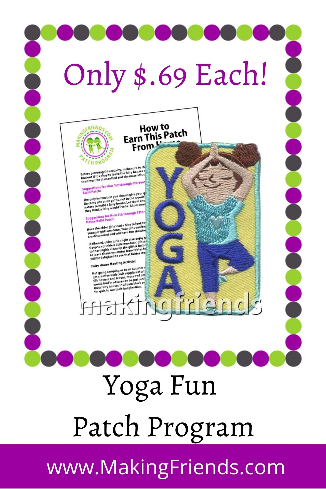 Teach your girls about keeping a healthy body and mind through yoga! Experts and beginners will love this! $.69 each, free shipping available! #makingfriends #yoga #girlscouts #gspatches #patchprogram #behealthy #funpatch #girlscoutactivity via @gsleader411